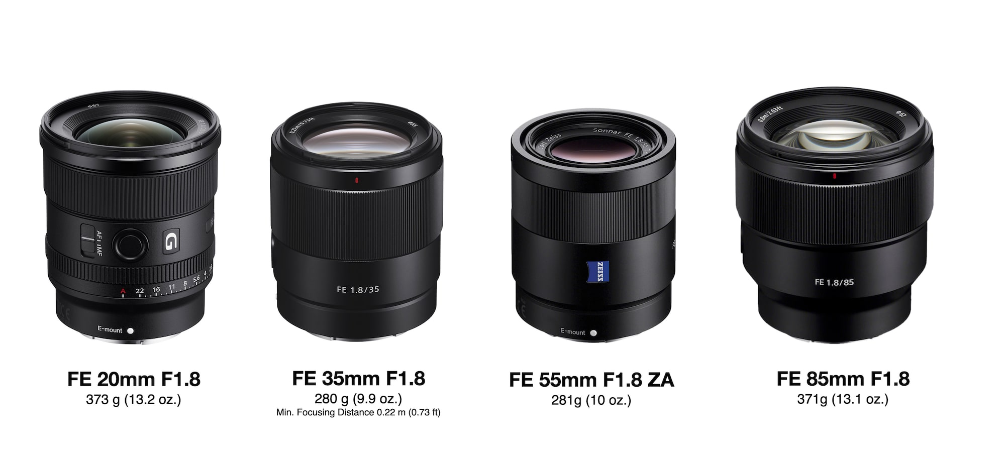 Sony's F1.8 lightweight prime lenses