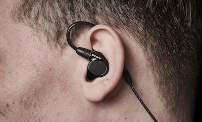 Close-up of the IER-M7's snug fit in someone's ear