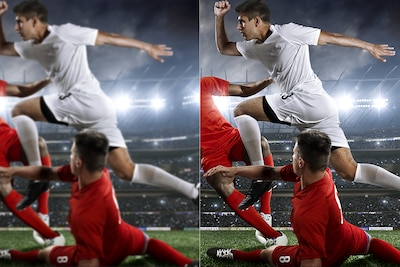 Two images comparing picture quality of a player jumping over another player's tackle