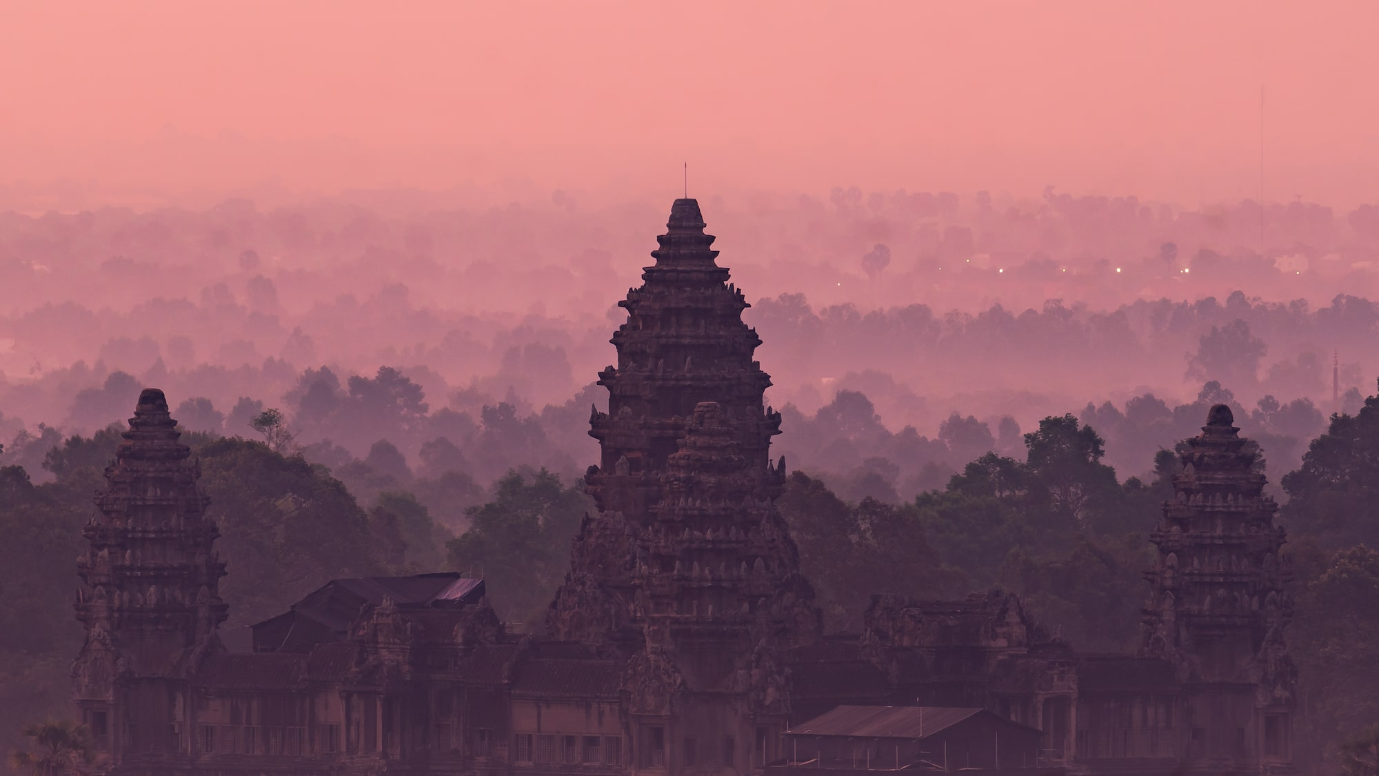 Angkor Wat from afar with twilight as background