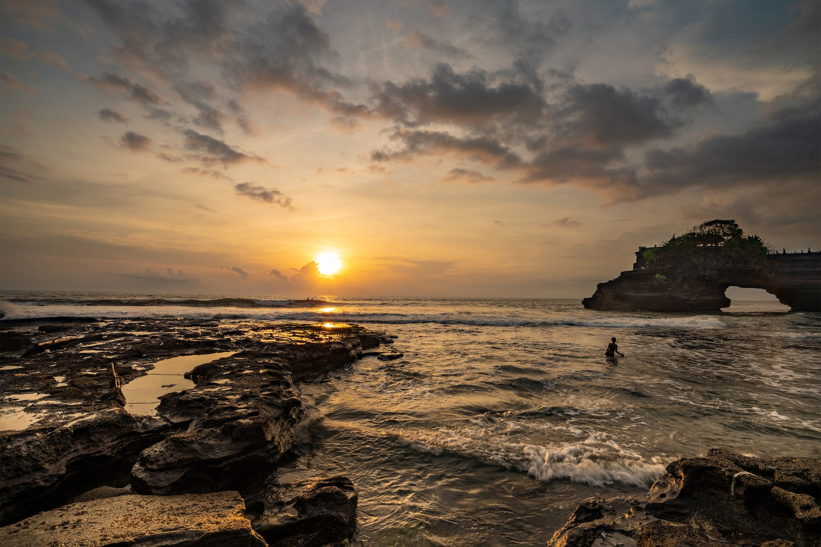 Sunset at sea at Tanah Lot Temple