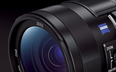 Cropped close-up of Zeiss lens