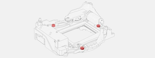 Wireframe illustration showing the camera's internal structure