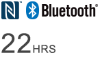 Bluetooth® logo — Wireless listening time of 22 hours