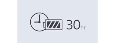 30-hour battery life icon.
