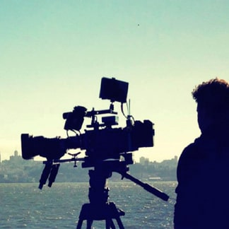 Sony Professional video camera filming city skyline