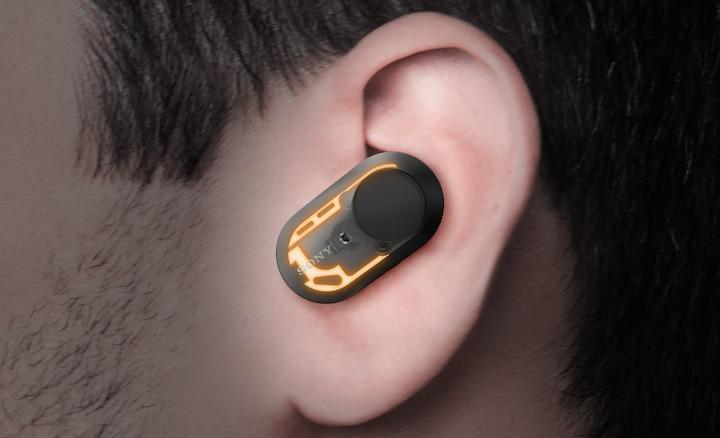 Image illustrating WF-1000XM3 earbuds' optimized antenna design.