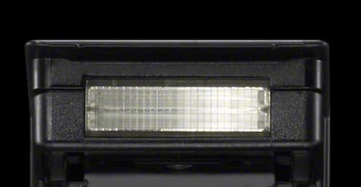 Close view of built-in flash