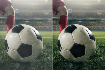 Two images comparing picture quality of a soccer ball on-pitch in front of a player's foot
