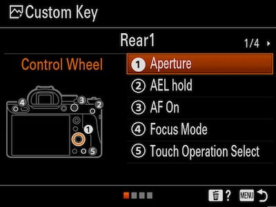 "Custom Key setup menu for the Control Wheel, with the cursor on ""1 Aperture"""