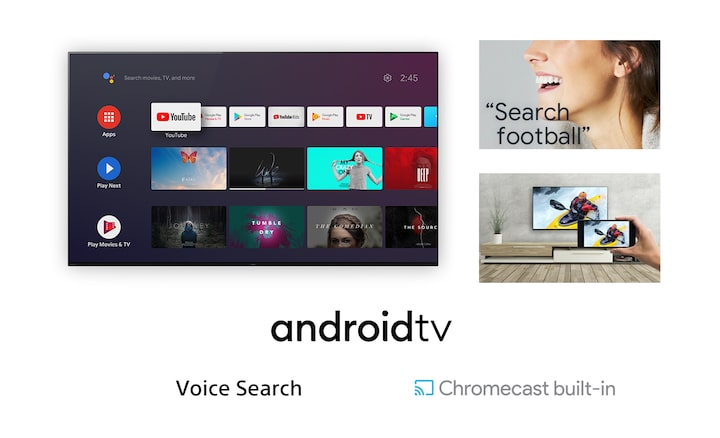 Images showing Android TV screenshot, woman using Voice Search to search for soccer content, and casting of smartphone content to TV using Chromecast