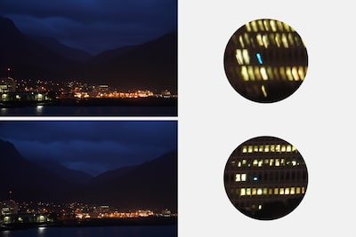 Images illustrating image stabilization, with blurred image (top) and image (bottom) with roll compensation