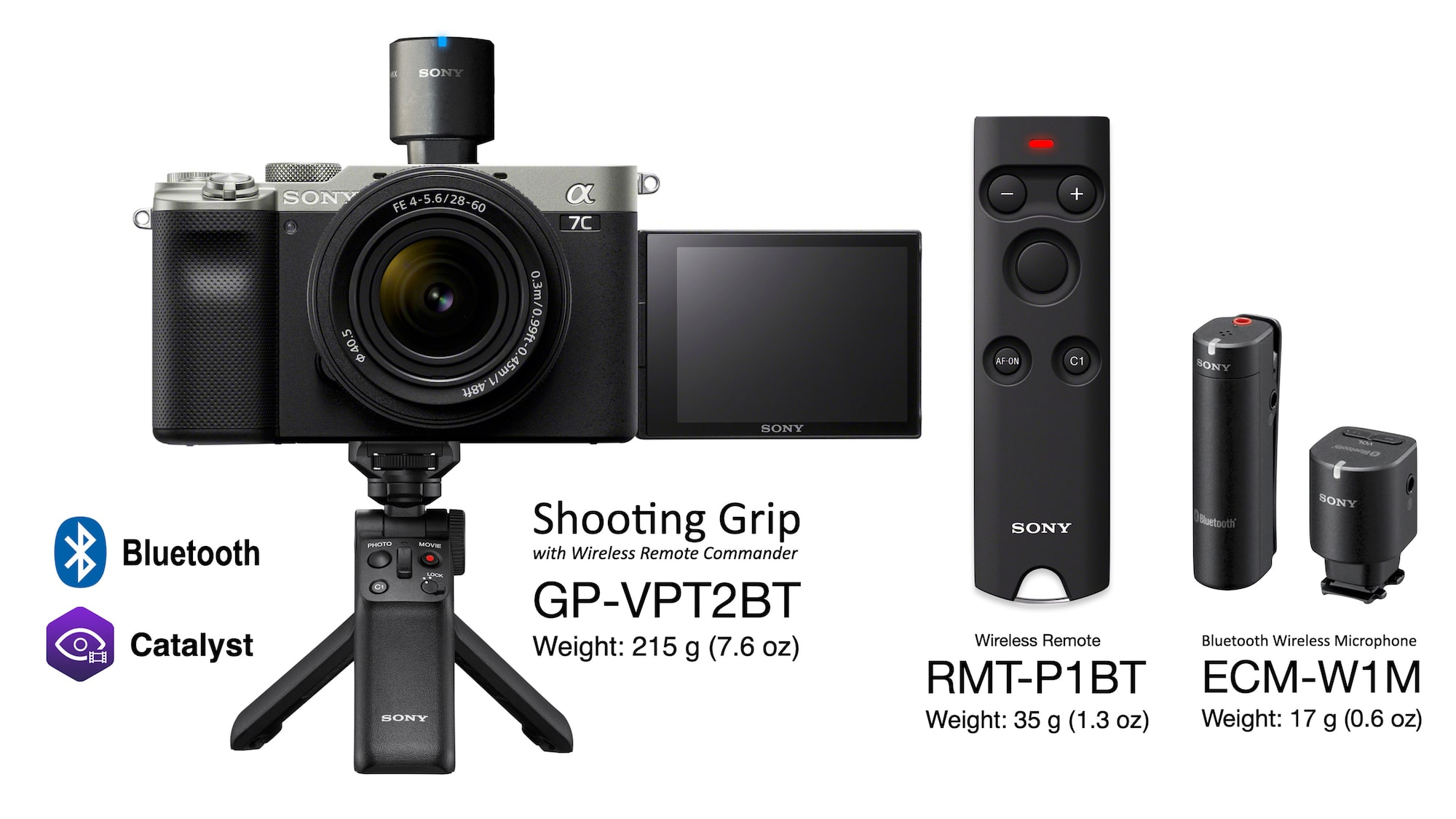 Alpha 7C, GP-VPT2BT shooting grip, RMT-P1BT wireless remote, and ECM-W1M Bluetooth wireless microphone