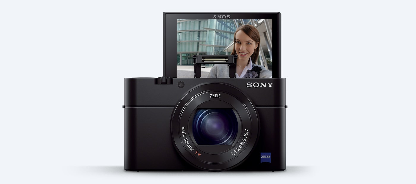 Front view of the Sony DCS-RX100 III Cyber-shot™ digital camera with LCD screen flipped up