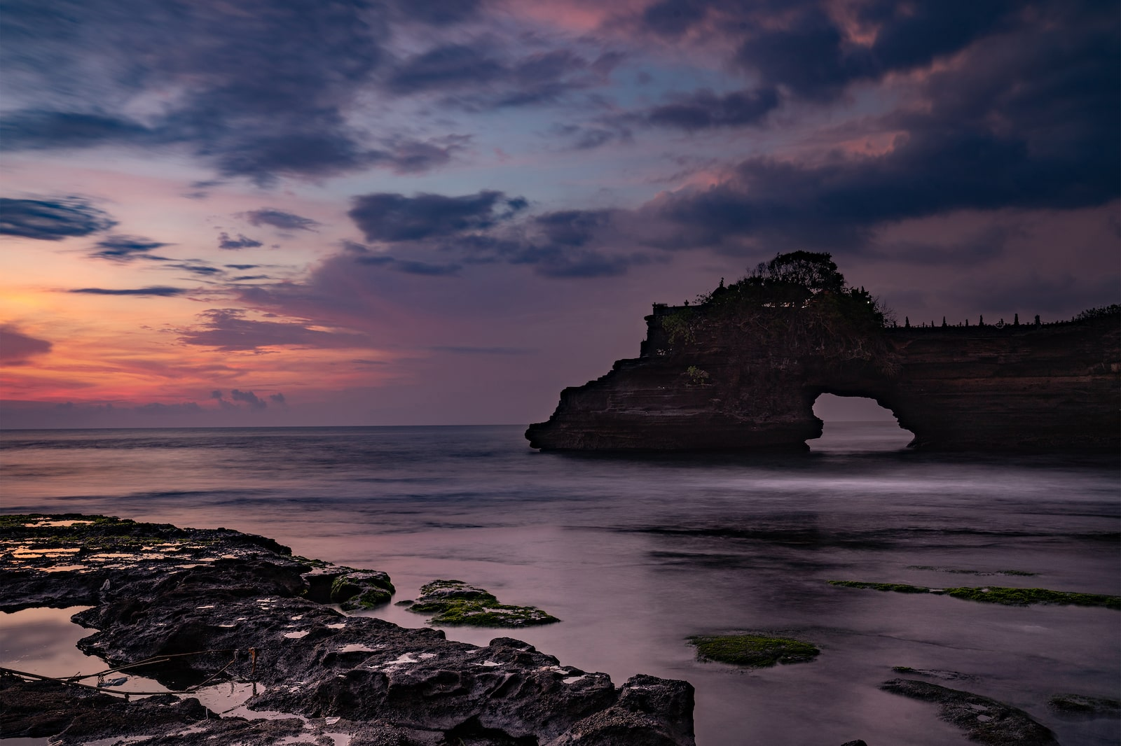 Purple sunset by the sea in Bali