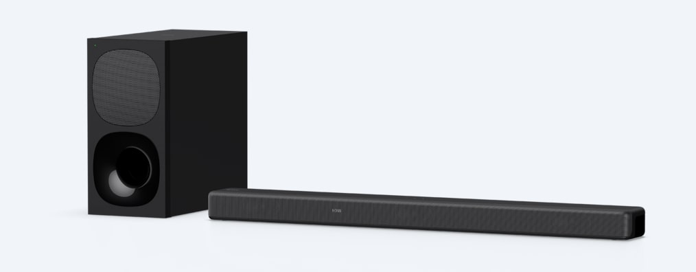 Angled product shot of HT-G700 soundbar and wireless subwoofer