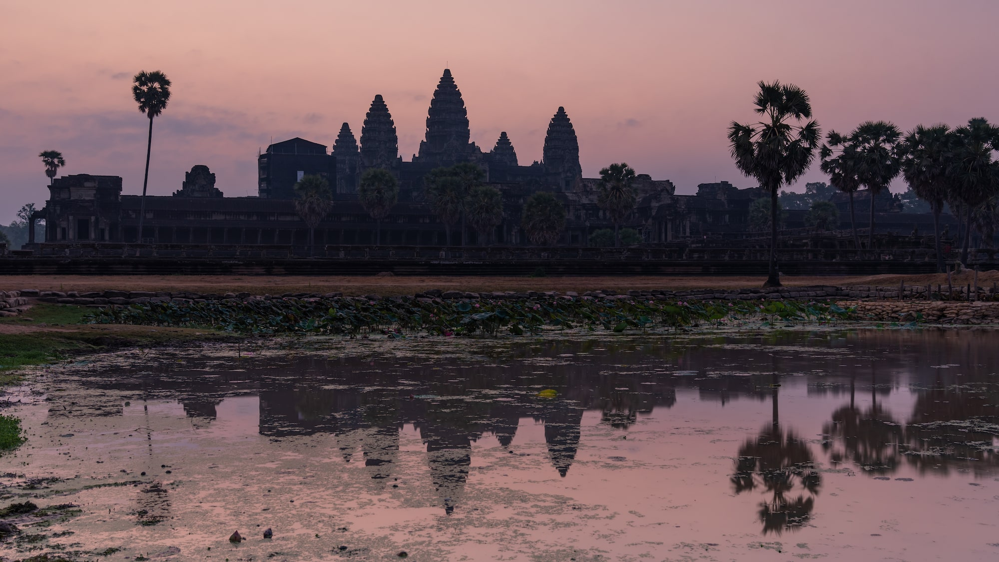 Temples and the water's reflection at sunrise in Angkor Wat