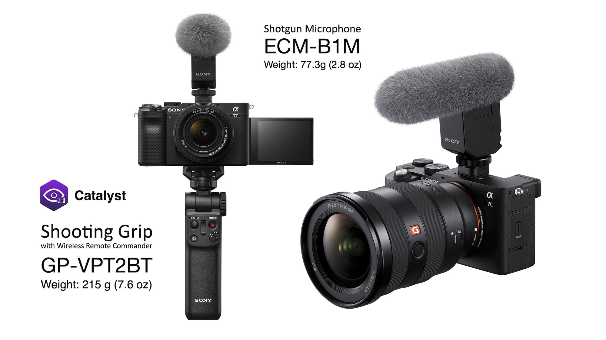Alpha 7C, GP-VPT2BT shooting grip and ECM-B1M shotgun microphone