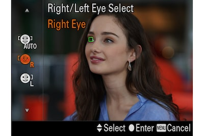 Monitor image of a model with an AF frame over one eye, with controls visible for selection of the right or left eye