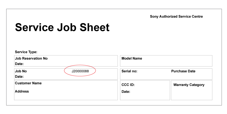 Online track repair status sony philippines inc for Service job card template